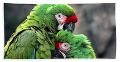 Macaws In Love Beach Sheet by Diane Merkle