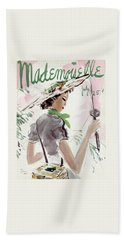 Mademoiselle Cover Featuring A Woman Holding Beach Towel by Helen Jameson Hall