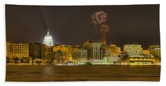 Madison Skyline New Years Eve Beach Sheet