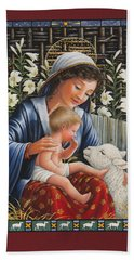 Madonna Of The Lilies Beach Towel