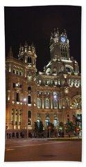 Madrid City Hall At Night Beach Sheet