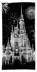 Magic Kingdom Castle In Black And White With Fireworks Walt Disney World Beach Towel by Thomas Woolworth