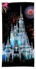 Magic Kingdom Castle In Frosty Light Blue With Fireworks 06 Beach Sheet
