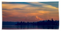 Magical Sunset At The Lake Beach Sheet by Ken Stanback