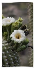 Beach Towel featuring the photograph Magnificant Bloom Of The Saguaro by Lucinda Walter