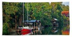 Magnolia Red Boat Beach Towel