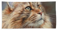 Maine Coon Cat Beach Towel