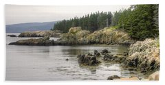 Maine's Beautiful Rocky Shore Beach Towel by Denyse Duhaime