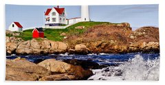 Beach Towel featuring the photograph Maine's Nubble Light by Mitchell R Grosky