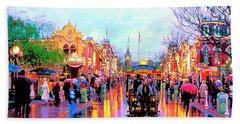 Beach Towel featuring the photograph Mainstreet Disneyland by David Lawson