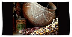 Pottery And Maize Indian Corn Still Life In New Orleans Louisiana Beach Sheet by Michael Hoard