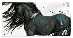 Majestic Friesian Horse 112 Beach Sheet by AmyLyn Bihrle