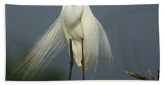 Majestic Great Egret Beach Towel by Bob Christopher