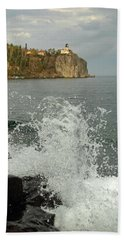 Beach Sheet featuring the photograph Making A Splash At Split Rock Lighthouse  by James Peterson