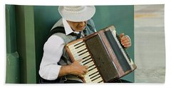 Male Accordion Player In Town Center Beach Towel