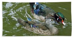 Male And Female Wood Ducks Beach Towel