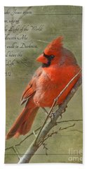 Male Cardinal On Twigs With Bible Verse Beach Towel by Debbie Portwood