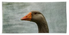 Male Graylag Goose Profile Beach Towel by Denyse Duhaime
