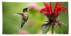 Male Ruby-throated Hummingbird Hovering Near Flowers Beach Sheet