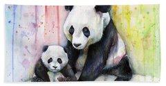 Panda Watercolor Mom And Baby Beach Towel