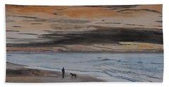 Man And Dog On The Beach Beach Sheet