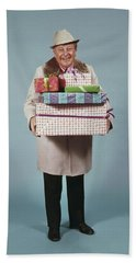 Man Carrying Gifts Hat Party 1970s Beach Towel