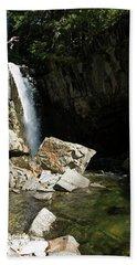 Man Jumping Off Waterfall In Idaho Beach Towel