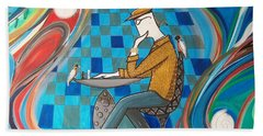 Man Sitting In Chair Contemplating Chess With A Bird Beach Towel