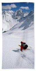 Man Skiing In Untracked Powder, Colorado Beach Towel