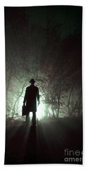 Beach Towel featuring the photograph Man Waiting In Fog With Case by Lee Avison