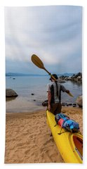 Man With A Paddle Over His Shoulder Beach Towel