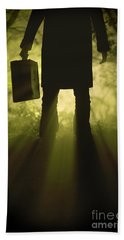 Beach Towel featuring the photograph Man With Case In Fog by Lee Avison
