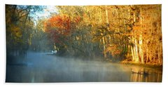 Manatee Spring Run Fog Beach Towel