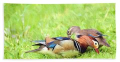 Mandarin Duck Couple Beach Sheet by Kerri Farley