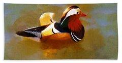 Mandarin Duck Flapping In The Water Beach Sheet