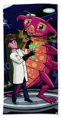 Manga Professor With Nice Pink Monster Experiment Beach Towel