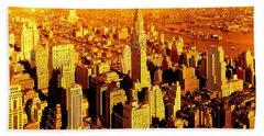 Manhattan And Chrysler Building Beach Sheet