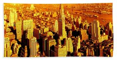 Manhattan And Chrysler Building Beach Towel