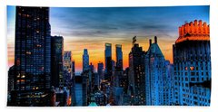 Manhattan At Sunset Beach Towel