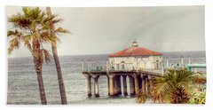Manhattan Beach Pier Beach Towel by Juli Scalzi