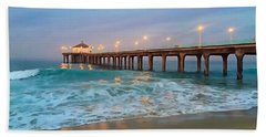 Beach Towel featuring the photograph Manhattan Beach Reflections by Art Block Collections