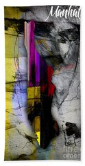 Manhattan Map Watercolor Beach Towel by Marvin Blaine