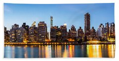 Manhattan Panorama And Queensboro Bridge Beach Towel