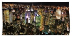 Beach Towel featuring the photograph Manhattan Skyline Empire State Wobbles by Andy Prendy