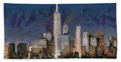 Beach Towel featuring the painting Manhattan Skyline At Blue Night Empire State by Georgi Dimitrov