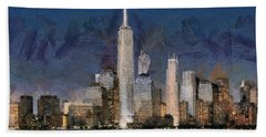 Beach Sheet featuring the painting Manhattan Skyline At Blue Night Empire State by Georgi Dimitrov