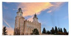Manti Temple Morning Beach Towel by David Andersen