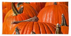 Beach Towel featuring the photograph Many Pumpkins In A Row Art Prints by Valerie Garner