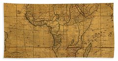 Map Of Africa Circa 1829 On Worn Canvas Beach Towel