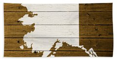 Map Of Alaska State Outline White Distressed Paint On Reclaimed Wood Planks. Beach Towel